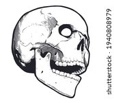 engraving style skull with open ...   Shutterstock .eps vector #1940808979