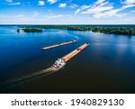 Aerial View Of Barge Or...