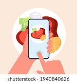 phone food photo. taking mobile ... | Shutterstock .eps vector #1940840626