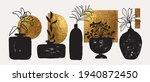 vases  pots with plants. golden ... | Shutterstock .eps vector #1940872450