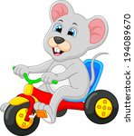 mouse riding bicycle | Shutterstock .eps vector #194089670