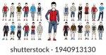 handsome men in sport wear... | Shutterstock .eps vector #1940913130