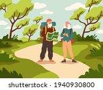 old people tourist walk. happy...   Shutterstock .eps vector #1940930800