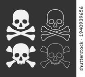 set of skull with bones...   Shutterstock .eps vector #1940939656