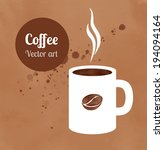 cap of coffee on hand painted... | Shutterstock .eps vector #194094164