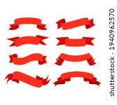 flat vector red ribbons... | Shutterstock .eps vector #1940962570