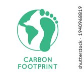carbon footprint with a globe.... | Shutterstock .eps vector #1940968819