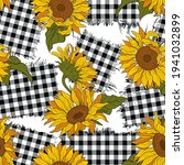 Bright sunflower flowers on checkered patches.   Seamless vector pattern. Farmhouse Decor.