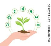 hand save tree and icon ecology.... | Shutterstock .eps vector #1941113680