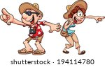 excited tourist couple. vector... | Shutterstock .eps vector #194114780