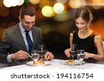 restaurant  couple and holiday... | Shutterstock . vector #194116754