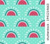seamless watermelon vector...   Shutterstock .eps vector #1941214663
