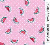 seamless watermelon vector...   Shutterstock .eps vector #1941244843