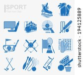 set of flat design sport icon... | Shutterstock .eps vector #194125889
