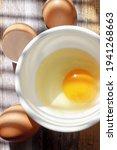 A Vertical Top View Of Egg Yolk ...