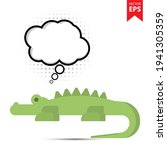cute cartoon crocodile with...