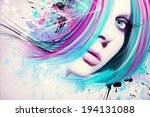 colorful artwork with beautiful ... | Shutterstock . vector #194131088