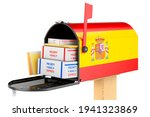 Mailbox With Spanish Flag With...