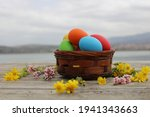 Easter Basket And Colorful Eggs ...