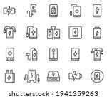 line powerbank icon set...