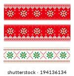 nordic pattern of knitting  | Shutterstock . vector #194136134