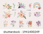 floral stickers collection with ... | Shutterstock .eps vector #1941400249