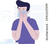 sneezing boy concept vector... | Shutterstock .eps vector #1941419599