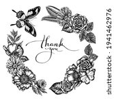 Floral Wreath Of Black And...