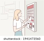 woman orders food at the touch... | Shutterstock .eps vector #1941473560