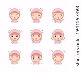 cute muslim girl with different ...   Shutterstock .eps vector #1941597493