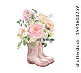 Watercolor Garden Boots With...