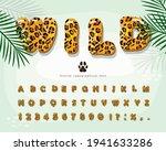 leopard skin cartoon font.... | Shutterstock .eps vector #1941633286
