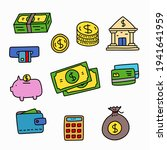 set of money doodle vector... | Shutterstock .eps vector #1941641959