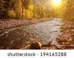 Mountain River At Sunset. Sout...