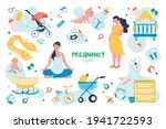 pregnancy set isolated elements.... | Shutterstock .eps vector #1941722593