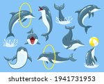 cute blue dolphins set  dolphin ...   Shutterstock .eps vector #1941731953