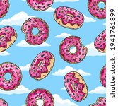 donuts with pink glaze and... | Shutterstock .eps vector #1941761899