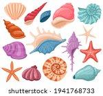 cartoon seashells. summer beach ... | Shutterstock .eps vector #1941768733