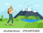 man traveler with backpack and... | Shutterstock .eps vector #1941855400