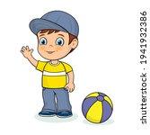 cute cartoon boy and a ball....   Shutterstock .eps vector #1941932386
