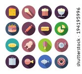 flat design icons for food....