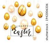 golden lettering happy easter...   Shutterstock .eps vector #1942006336