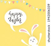 cute easter rabbit with ears...   Shutterstock .eps vector #1942006339