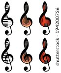 Set Of Abstract Treble Clefs...