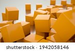 a poster with random cubes in... | Shutterstock . vector #1942058146