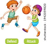 opposite words with defend and... | Shutterstock .eps vector #1942059820