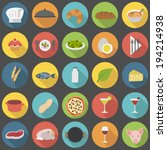 chef's flat food icons for... | Shutterstock .eps vector #194214938