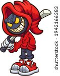 evil hooded character holding a ... | Shutterstock .eps vector #1942166383