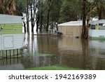 Small photo of Long Jetty, NSW, Australia – March 22, 2021: Duncan's Lakefront Caravan Park on the Central Coast of NSW, Australia during a flood