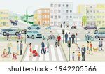streets with families and...   Shutterstock .eps vector #1942205566